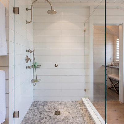 Bathroom - large coastal master white tile and ceramic tile light wood floor bathroom idea in Boston with white walls