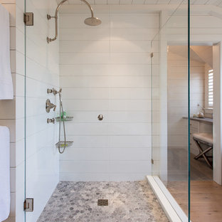 Bathroom - large coastal master white tile and ceramic tile light wood floor bathroom idea in Boston with white walls