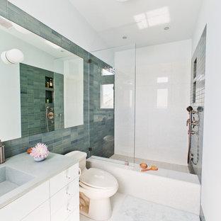 Bathroom - contemporary subway tile bathroom idea in Los Angeles