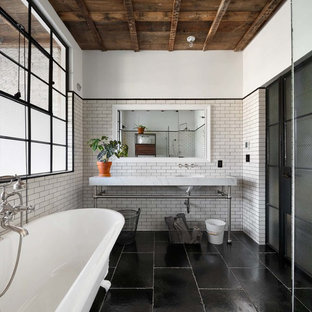 Design Ideas For A Medium Sized Industrial Shower Room In New York With A  Built