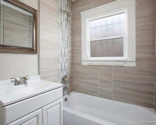 Small Craftsman Master Bathroom Idea In San Diego With Raised Panel Cabinets White Cabinets