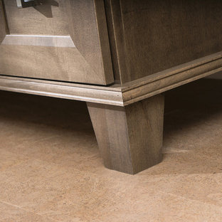 Close Up of Bathroom Furniture Vanity with Bun Feet and Molding Details
