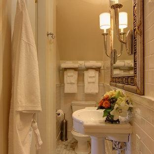 Esempio di una stanza da bagno con doccia chic di medie dimensioni con piastrelle diamantate, piastrelle bianche, pareti bianche, pavimento con piastrelle a mosaico, lavabo a colonna e top in superficie solida