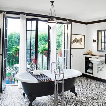 Cluny Cement Tiles Inject Pattern into an Industrial/Traditional Bathroom