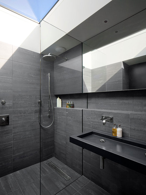 Walk In Shower   Contemporary 3/4 Gray Tile Walk In Shower Idea