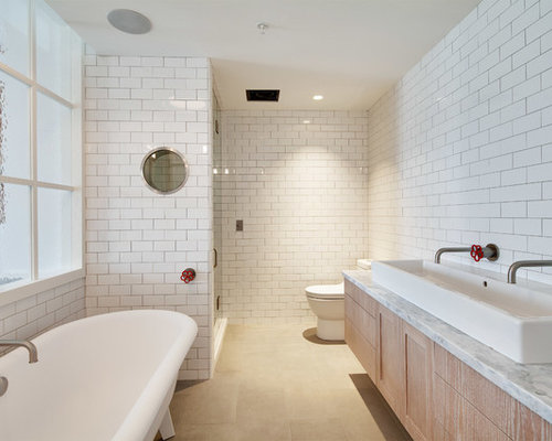 Industrial ensuite bathroom with limestone flooring ideas for Ensuite flooring ideas