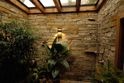 Tropical Bathroom by Arieno Custom Home Design