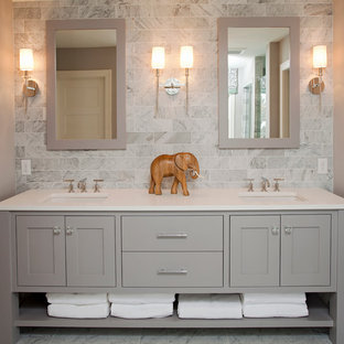 Design ideas for a beach style bathroom in Minneapolis with grey cabinets.