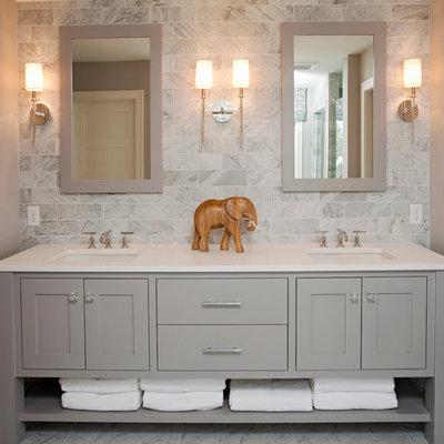 Bathroom - coastal bathroom idea in Minneapolis with gray cabinets