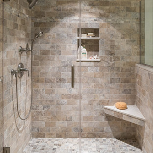 Coastal Travertine Tile Bathroom