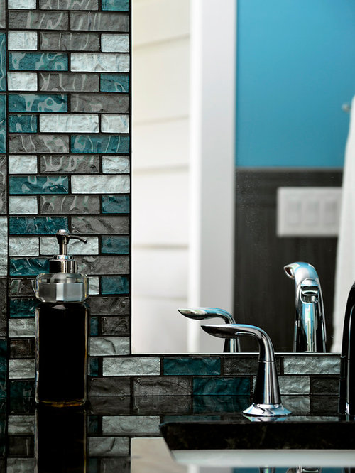 Bath Design Ideas, Pictures, Remodel & Decor with Black Cabinets and Glass Tile