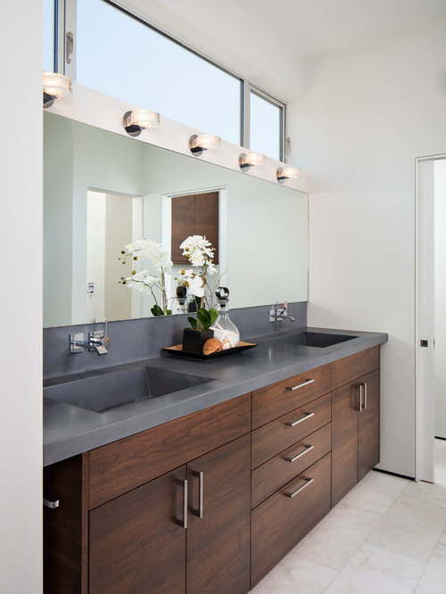 gray and brown bathroom color ideas. Large beach style master ceramic floor bathroom idea in San Diego with an  integrated sink Grey Brown Bathroom Ideas Houzz
