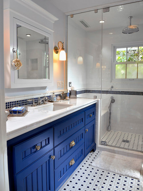 Example of a coastal 3 4 black and white tile ceramic mosaic Royal Blue Bathroom Ideas  Houzz
