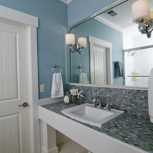 Coastal Bathroom Photo In Raleigh With Tile Countertops And Multicolored  Countertops