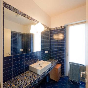 Cobalt blue modern bathroom
