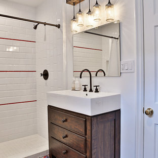 Mid-sized tuscan 3/4 red tile, white tile and subway tile ceramic floor and multicolored floor bathroom photo in Miami with flat-panel cabinets, dark wood cabinets, white walls and a vessel sink