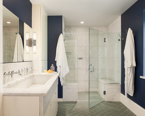 Elegant White Tile Gray Floor Alcove Shower Photo In Philadelphia With A  Trough Sink, White