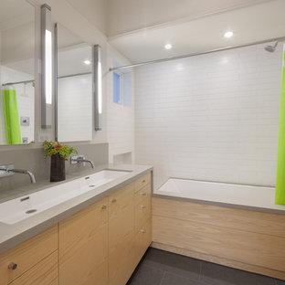 Bathroom - contemporary subway tile bathroom idea in San Francisco with a trough sink