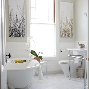 Example of a mid-sized classic master white tile and subway tile marble floor bathroom design in San Francisco with marble countertops, gray walls, a two-piece toilet and a console sink