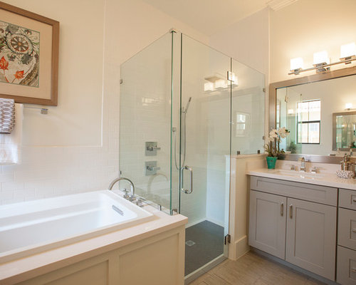 Light colored cabinets bathroom ideas houzz large transitional master white tile and subway tile medium tone wood floor bathroom photo in orlando mozeypictures Choice Image