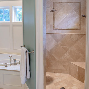 Inspiration for a timeless beige tile marble floor bathroom remodel in Atlanta with an undermount sink, marble countertops and blue walls