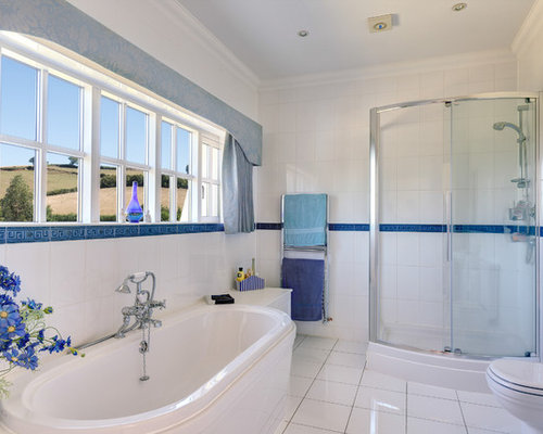 royal blue bathroom. Country blue tile drop in bathtub photo Devon Royal Blue Bathroom Ideas  Houzz