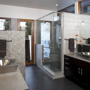 Minimalist mosaic tile bathroom photo in Denver with a vessel sink