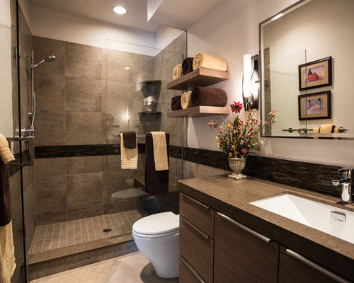 example of a trendy porcelain tile bathroom design in denver with an undermount sink