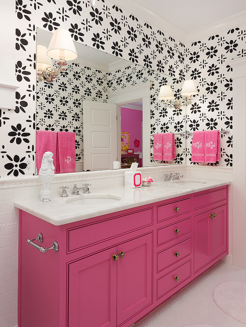 inspiration for a mid sized transitional kids bathroom remodel in atlanta with an undermount