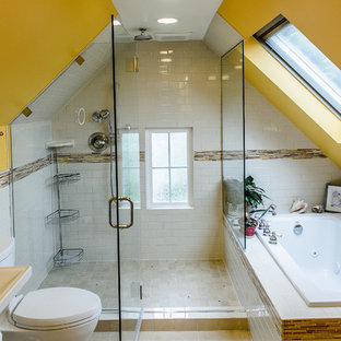Mid-sized eclectic master bathroom in Portland with a drop-in tub, an open shower, white tile, porcelain tile, yellow walls, porcelain floors, a pedestal sink and a two-piece toilet.
