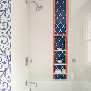 Bathroom - mid-sized tropical kids' white tile and porcelain tile ceramic tile and orange floor bathroom idea in DC Metro with flat-panel cabinets, dark wood cabinets, a two-piece toilet, blue walls, an undermount sink, quartz countertops and white countertops
