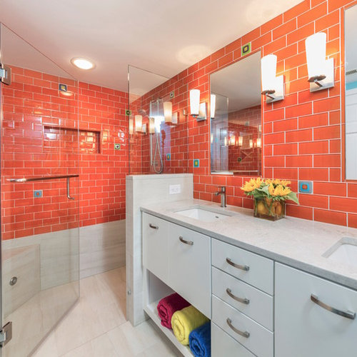inspiration for a mid sized transitional kids orange tile and subway tile porcelain floor