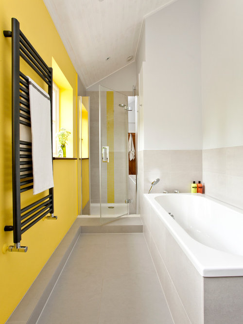 Inspiration For A Contemporary Bathroom Remodel In Oxfordshire With Yellow  Walls
