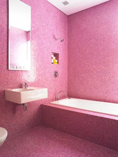 Monochrome Mosaike: 12 Bäder Mit Schillernden Charakteren   Pinkes  Badezimmer