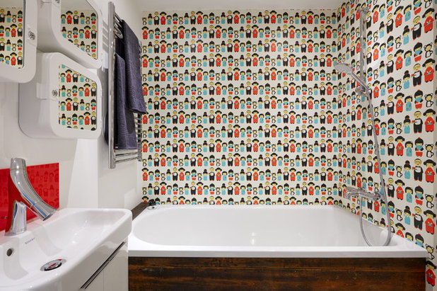 Can You Use Wallpaper in a Bathroom? Wallpaper Over Bathroom Tiles on wallpaper over countertops, wallpaper over plywood bathroom, wallpaper over fireplace, wallpaper over kitchen cabinets,