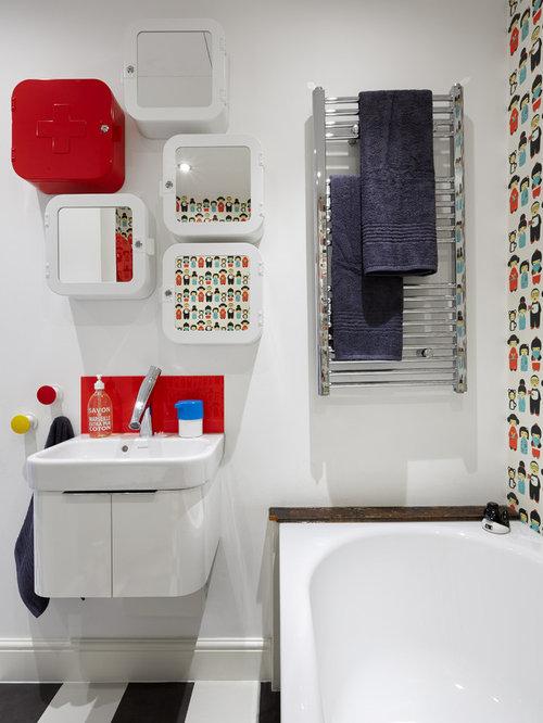 Salle de bain pour enfant avec un sol en vinyl : Photos et idées ...