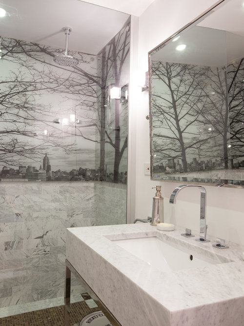 Black tree mural houzz for Black tree mural