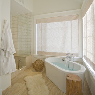 Inspiration for a contemporary subway tile freestanding bathtub remodel in Salt Lake City