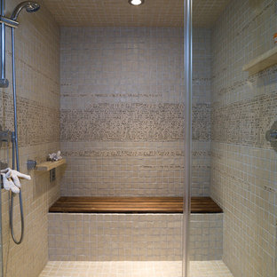 Inspiration for a mid-sized contemporary gray tile and ceramic tile porcelain floor sauna remodel in Los Angeles