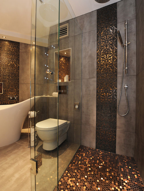 Trendy Mosaic Tile Freestanding Bathtub Photo In Belfast