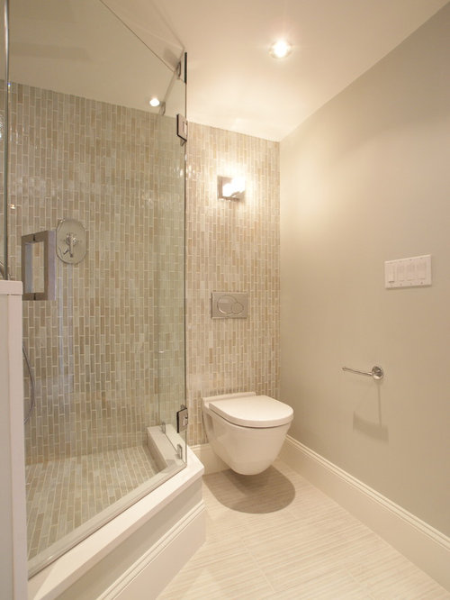 example of a trendy bathroom design in boston with a wallmount toilet