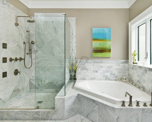 inspiration for a transitional stone tile corner bathtub remodel in san francisco - Bathroom Remodel Corner Tub