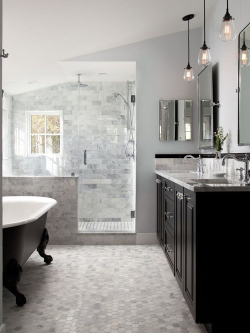 Bathroom   Traditional Master Gray Tile Mosaic Tile Floor And Gray Floor  Bathroom Idea In DC