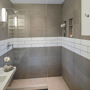 Bathroom - small modern 3/4 ceramic tile and gray tile ceramic tile and gray floor bathroom idea in Cincinnati with open cabinets, white cabinets, white walls, a wall-mount sink and quartz countertops