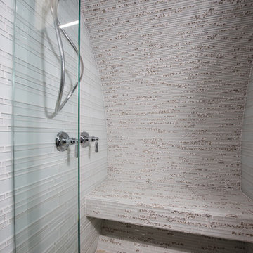 Compact Shower with Modern Glass Tile | Stylish Underground Shelter