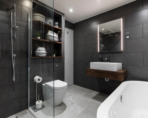 Houzz | Modern Doorless Shower Design Ideas & Remodel Pictures