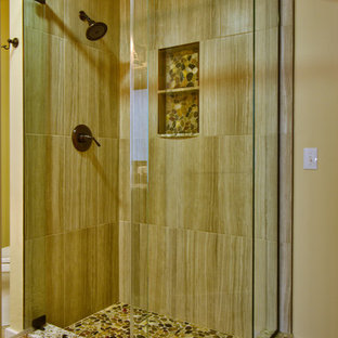 This is an example of a small rustic family bathroom in Boston with freestanding cabinets, a corner shower, a two-piece toilet, porcelain tiles, porcelain flooring, a submerged sink and granite worktops.