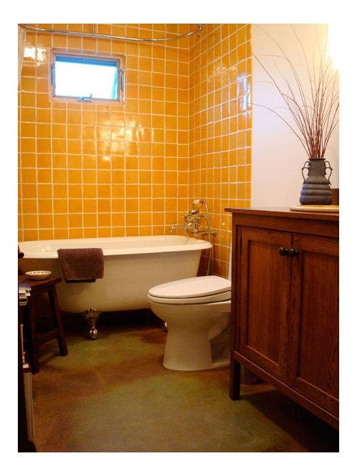 Bagno etnico con piastrelle arancioni - Foto, Idee, Arredamento
