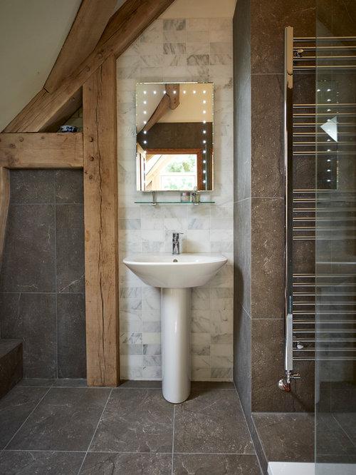 Rustic bathroom idea in West Midlands with a pedestal sink. Wash Basin Mirror   Houzz