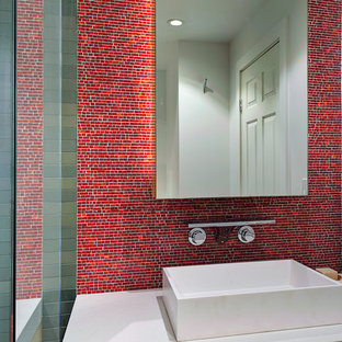 Example Of A Mid Sized Minimalist Master Red Tile And Mosaic Alcove Shower Design